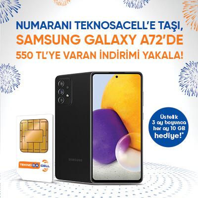 Samsung Galaxy A72'de 550 TL'ye varan indirim şimdi Teknosacell'de!