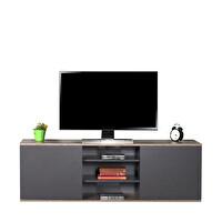 Adore Flat Line Max TVC-520-LA-1 İki Kapaklı Üç Bölmeli Tv Sehpası Latte Antrasit