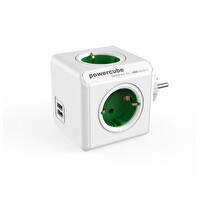 Powercube Orıgınal Usb De 1202Gn/Deoupc 2 Usb Portlu 4 Priz Girişli Akım Koruyucu Priz Yeşil