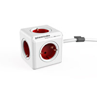 Powercube Akım Koruyucu Uzatma Kablosu 1300/Deexpc 5 Priz Girişli 15 M Kablo Renk:Kırmızı