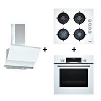 Bosch HBJ558YW0T  + POP6C2B11O + DWK065G20T Beyaz Ankastre Set