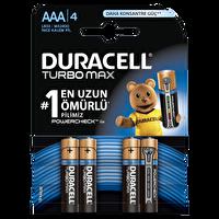 Duracell AAA 4 Lü Turbo Max İnce Kalem Pil