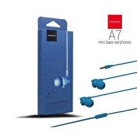 Powerway A7 Powerbass Mikrofonlu Mavi Kulak İçi Kulaklık