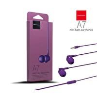 Powerway A7 Powerbass Mikrofonlu Mor Kulak İçi Kulaklık
