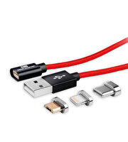 Swiss Charger Scc-10008 Manyetik Uçlu Ios Micro Usb Type-C Data Ve Şarj Kablosu 1.5M