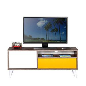 Adore Retro TVR-311-MX-1 Çekmeceli Tv Sehpası Latte Sarı Diamond Beyaz