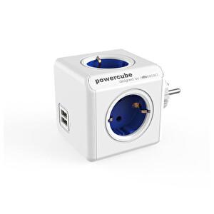 Powercube Orıgınal Usb De 1202Bl/Deoupc 2 Usb Portlu 4 Priz Girişli Akım Koruyucu Priz Mavi
