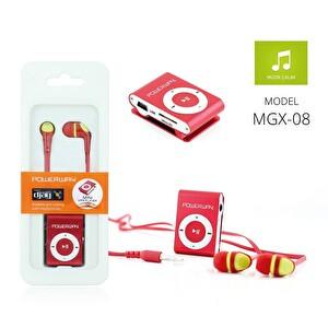 Powerway Mgx-08 Kırmızı Mp3 Player & Silikon Stereo Kulak İçi Kulaklık