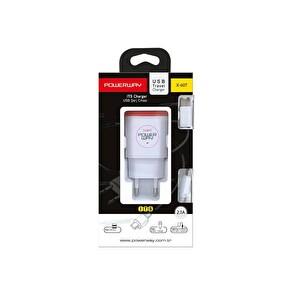 Powerway X-607 Beyaz 2.1A Çift Usb Çıkışlı Ios/Micro/Type-C Uyumlu Ev Tipi Şarj Cihazı