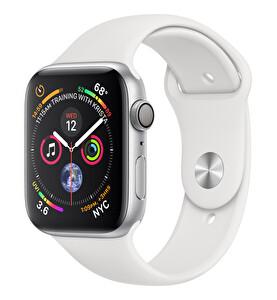 Apple Watch S4 44mm Gümüş Rengi Aluminyum Kasa, Beyaz Spor Kordon (MU6A2TU/A)
