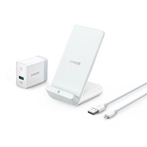 Anker Powerwave 7.5 Kablosuz Hızlı Şarj Cihazı Standı + Qualcomm 3.0 Priz Adaptörü