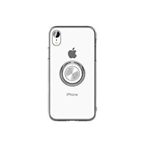 Preo My Case iPhone 11 Armour Rings Şeffaf/Gümüş 3 in 1 Stand&Manyetik&Rings Telefon Kılıfı