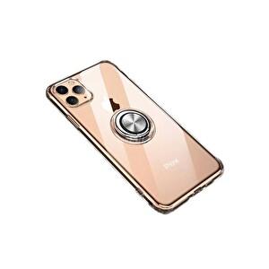 Preo My Case iPhone 11 Pro Max Armour Rings Şeffaf/Gümüş 3 in 1 Stand&Manyetik Telefon Kılıfı