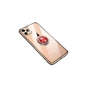 Preo My Case iPhone 11 Pro Max Armour Rings Şeffaf/Kırmızı 3 in 1 Stand&Manyetik Telefon Kılıfı
