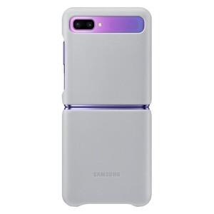 Samsung Galaxy Z Flip Deri Kılıf Gümüş Gri