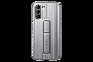 Samsung Galaxy S21 Koruyucu Stant Telefon Kılıfı Açık Gri