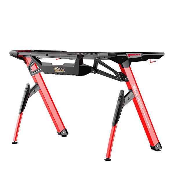 Adore Gaming Master AGT-124-QK-1 RGB Oyuncu Masası Karbon Çelik Gövde Siyah Kırmızı