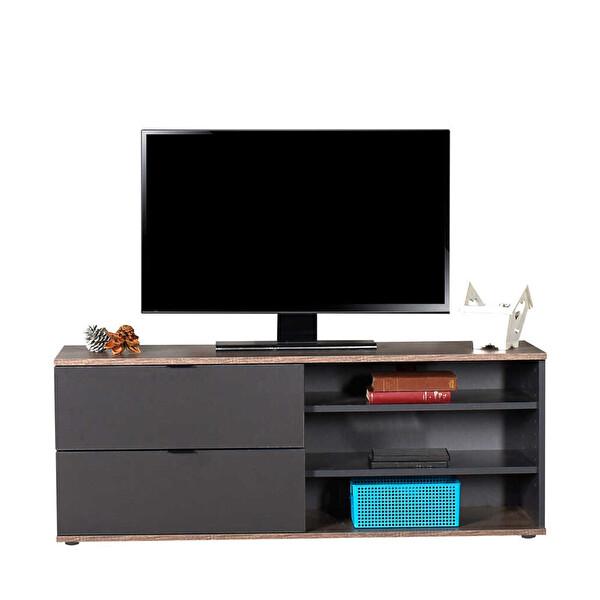 Adore Flat Line Plus TVC-502-LA-1 İki Çekmeceli Üç Bölmeli Tv Sehpası Latte Antrasit
