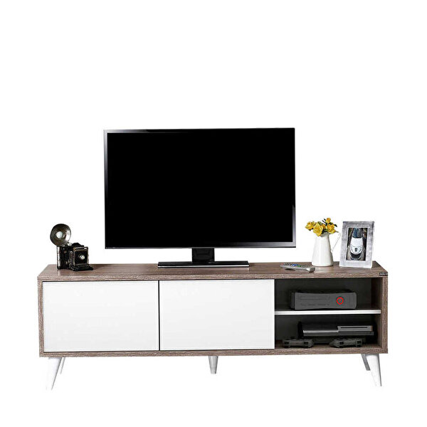 Adore Retro Wide Slide TVR-520-LB-1 Tv Sehpası Latte Diamond Beyaz