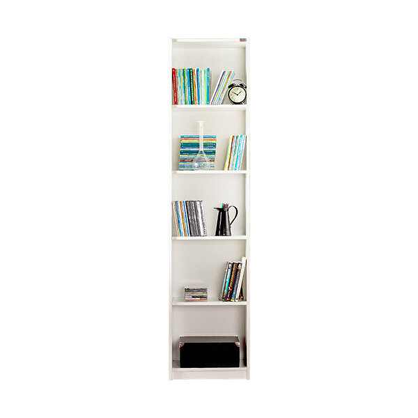 Adore Modern KTP-325-PP-1 5 Raflı Dar Kitaplık Lake Beyaz