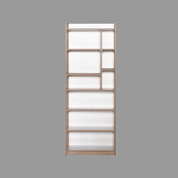 Adore Plus KTP-779-SD-1 10 Raflı Bölmeli Kitaplık Sonoma Diamond Beyaz