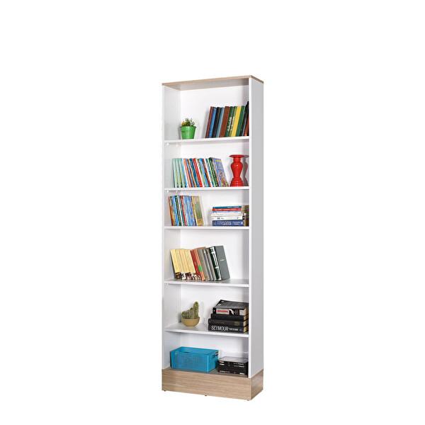 Adore Base KTP-860-MB-1 Genç Odası 6 Raflı Kitaplık İtalyan Meşe Beyaz
