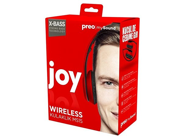 Preo My Sound MS15 Kulak Üstü Kablosuz Bluetooth Kulaklık Kırmızı