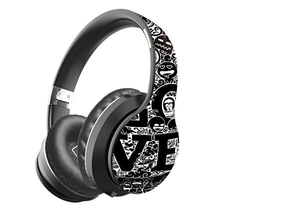 Preo My Sound Ms56 Kablosuz Kulak Üstü Kulaklık Siyah Grafiti