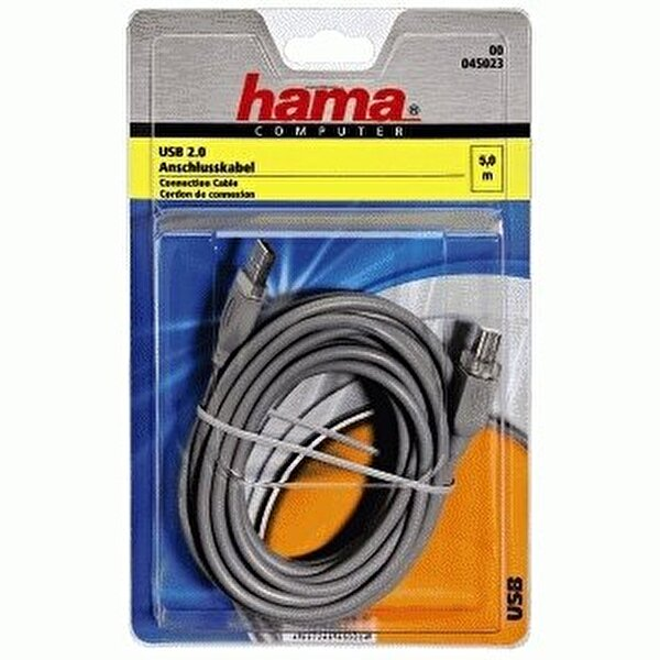 Hama Usb 2.0 A Fiş - B Fiş Gri 5M Kablo