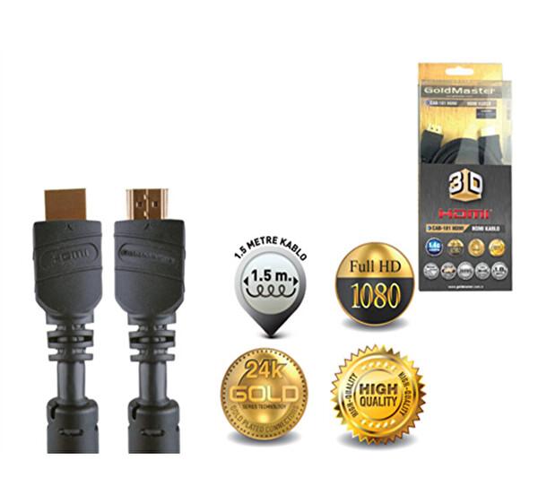Goldmaster Cab-181 HDMI Kablo (1,8 Metre) Altın Uçlu High Speed 1080P-3D