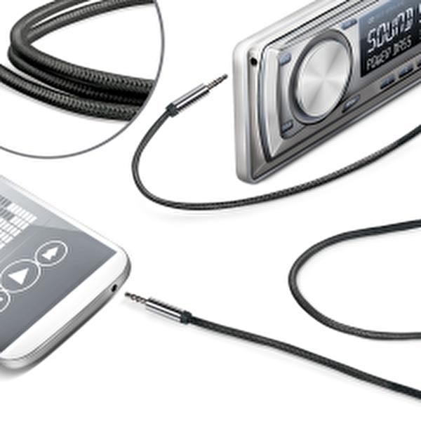 Celly Lıneın35Texbk Ses Kablosu Örgü 3.5mm Siyah