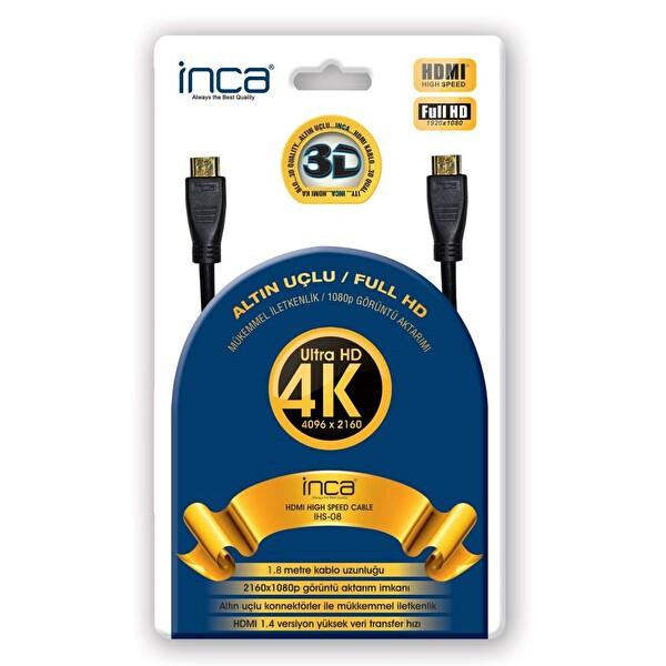 Inca Ihs-08 Altın Uçlu 4K Ultra HD 3D 1.8 Metre HDMI Speed Kablo