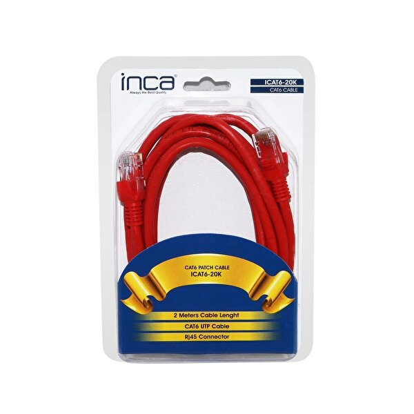 Inca Icat6-20K 2Mt Kırmızı Cat6 Kablo