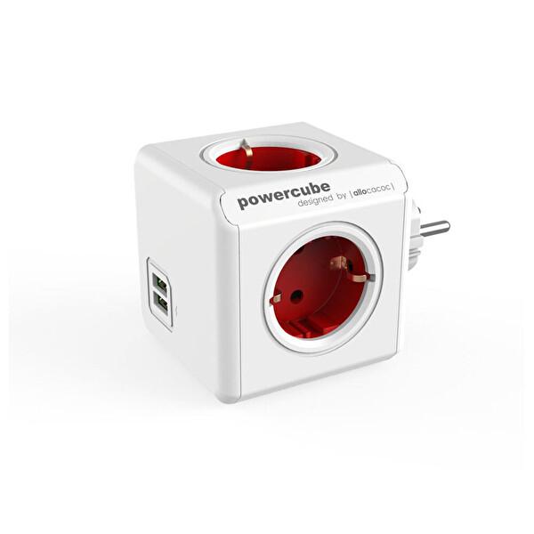Powercube Orıgınal Usb De 1202Rd/Deoupc 2 Usb Portlu 4 Priz Girişli Akım Koruyucu Priz Kırmızı