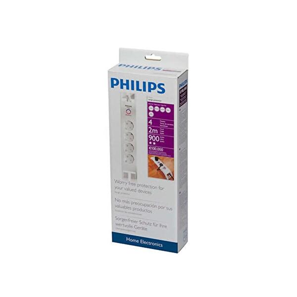 Philips Spn3040C/10 900 J 4 Lü Akım Korumalı Priz (2M)