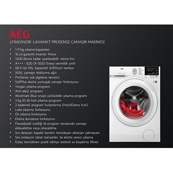 AEG LFX6G9451R A+++ 9 Kg 1400 Devir Çamaşır Makinesi