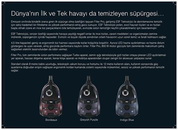 Fakir FilterPro Toz Torbasız Elektrikli Süpürge Mor