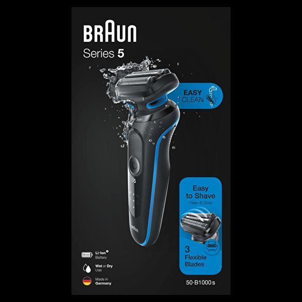 Braun 5 Serisi B1000s EasyClean EasyClick Islak ve Kuru Kablosuz Tıraş Makinesi