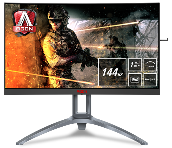 "AOC AGON AG273QCX 27"" 144Hz 1ms (Dport+HDMI) QHD FreeSync 2K Curved Gaming Monitör"