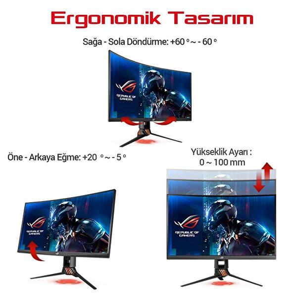 Asus ROG Strix PG27VQ 27.0 LED Kavisli Aura RGB G-Sync 2560x1440 1ms 165hz DP HDMI Eyecare USB Gaming Monitör