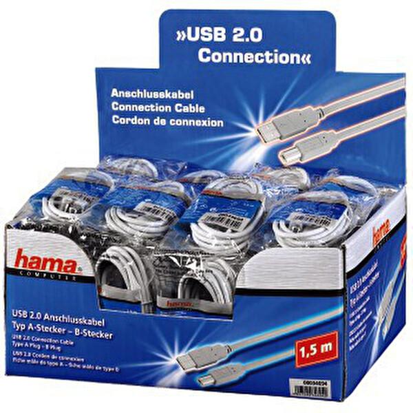 Hama 1.5M Usb Printer Kablosu Gri