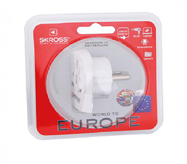 Skross Sw.World.To.Europe Beyaz Seyahat Adaptoru
