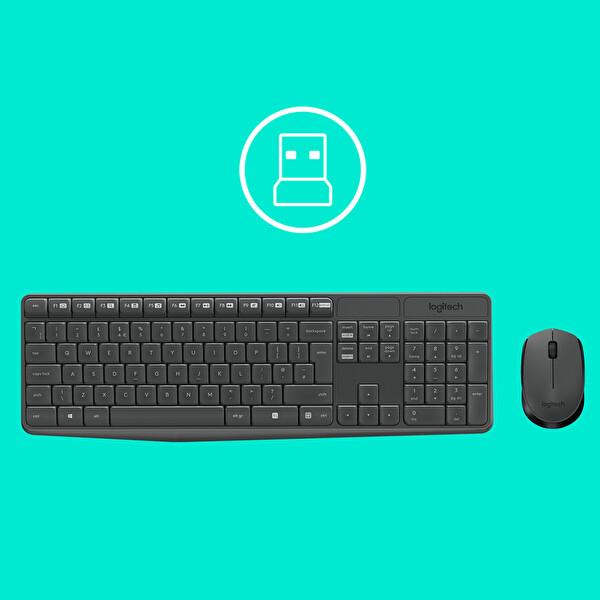 Logitech Mk235 920-007925 Kablosuz Q Klavye Mouse Set