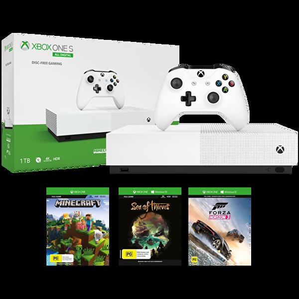 Xbox One S All Digital Edition Konsol + Sea of Thieves + Fortnite + Minecraft