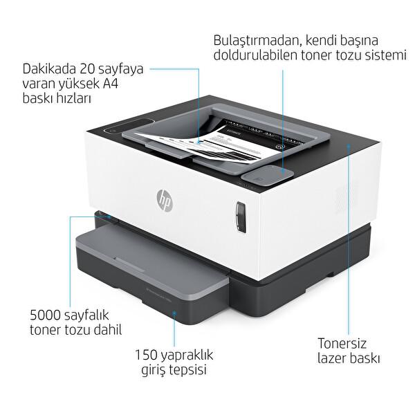 HP Neverstop Laser 1000a Toner Doldurulabilir Tankı Lazer Yazıcı 4RY22A