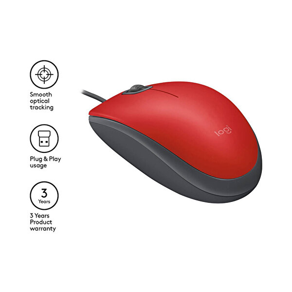 Logitech M110 Silent Kablolu Kırmızı USB Mouse 910-005489