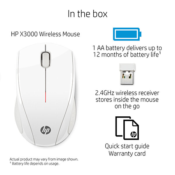 HP N4G64AA X3000 Kablosuz Mouse (Beyaz)