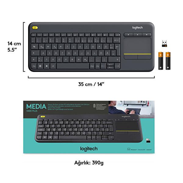 Logitech K400 Plus Dokunmatik Kablosuz Siyah Smart Tv Klavye (920-007149)