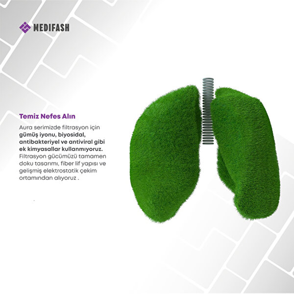 MediFash Aura Junior-Jungle TSE K599 Belgeli %90 Bakteri Filtresi 3 Katmanlı Fiber Kumaş Ayarlanabilir Kulak Aparatı Burun Telli Tekli Paket 60 Derecede Yıkanabilir Çocuk Maskesi