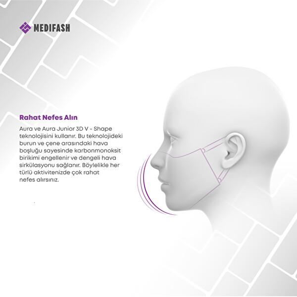 MediFash Aura Junior-Space TSE K599 Belgeli %90 Bakteri Filtresi 3 Katmanlı Fiber Kumaş Ayarlanabilir Kulak Aparatı Burun Telli Tekli Paket 60 Derecede Yıkanabilir Çocuk Maskesi